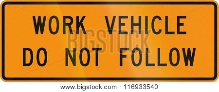 Road Sign Used In The Us State Of Virginia - Work Vehicle