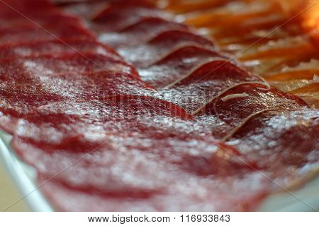 Spanish Jamon, Dry-cured Ham Thin Slicing For Background