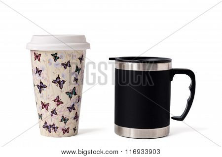 His And Her Isolated Mugs