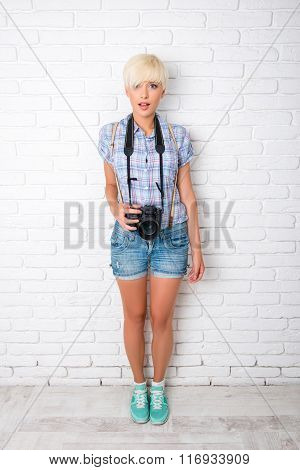 Funny Beautiful Girl Is A Freelance Photographer With Camera