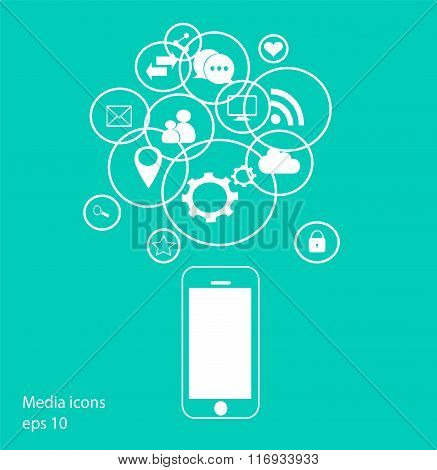 Flat mobile phone vector with social media icons neon