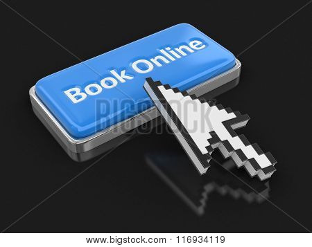 Cursor and button book on-line. Image with clipping path