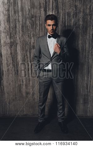 Confident Man With A Bow-tie Standing On The Grey Background