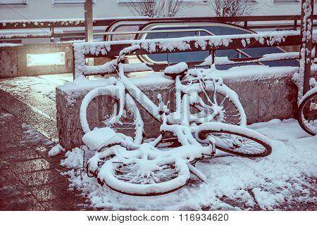 Bikes Parking Under The Snow