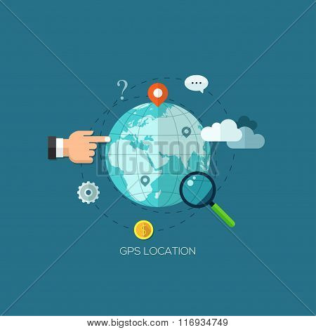 Flat designed Illustrations for Find the right place and Mobile navigation. Concepts web banner and