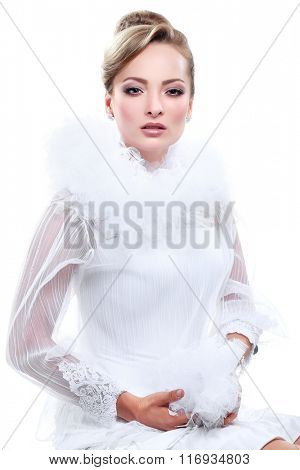 A portrait of elegant girl is in fashion style. Wedding decoration. Isolated on a white background