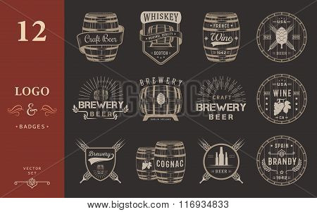 Set of wooden casks with alcohol drinks emblems and labels. Set of vintage logo badge template with wooden barrels for beer house bar pub wine and whiskey market brewery restaurant and winery.