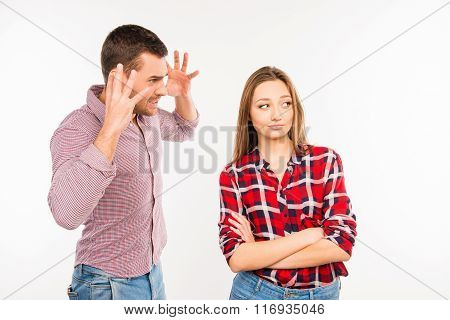 Angry Young Man Shouting At His Girlfriend