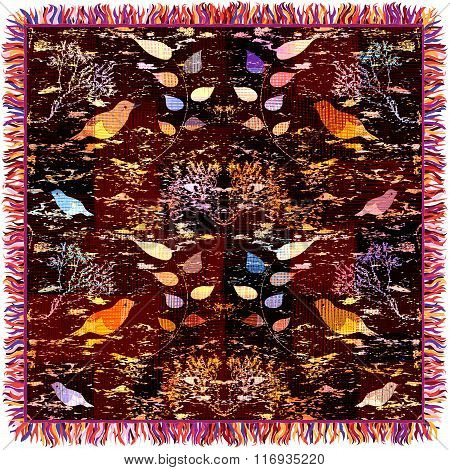 Colorful Weave Tapestry With Floral Pattern, Birds And Fringe Isolated On White