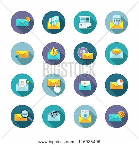 Modern thin line flat icons vector collection in stylish colors of messages