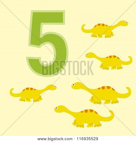 The Number 5. Five Dinosaurs (diplodocus).