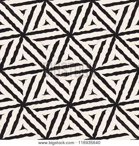 Vector Seamless Black And White Hand Painted Line Geometric Hexagonal Stars Pattern