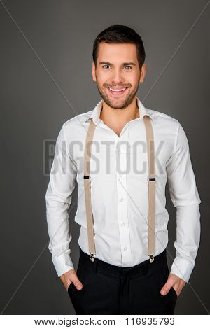 Portrait Of A Young Sexy Man With Beaming Smile
