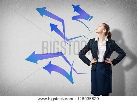 Businesswoman thinking something over