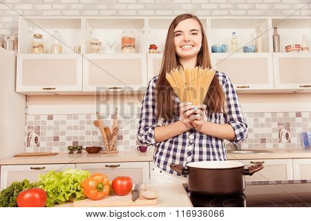 Beautiful Girl Is Going To Cook Pasta