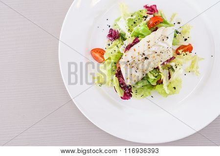 fish with vegetable salad