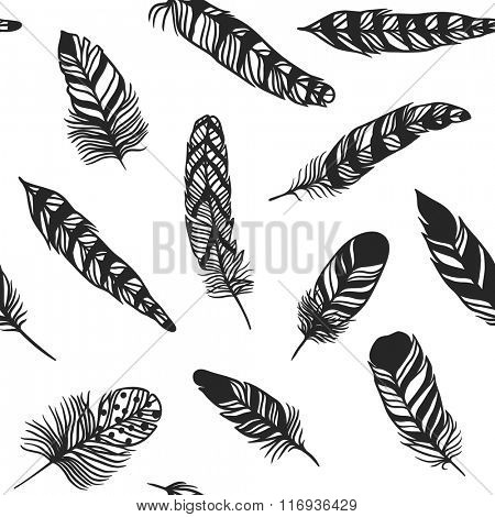 Boho feather hand drawn effect vector style seamless pattern illustration. Vector illustration of black boho feather. Boho indian feathers seamlesss texture