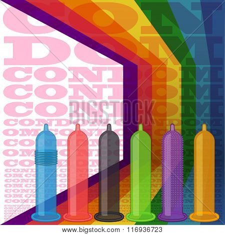 Condoms Striped Background