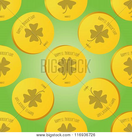 Seamles Patrick Day Pattern With With Leprechaun Gold Coin
