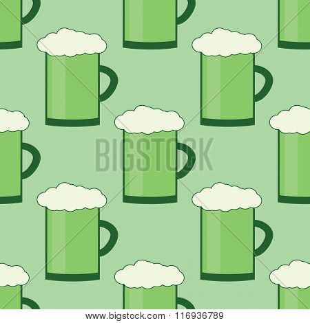 Seamles Patrick Day Pattern With Glass Of Green Irirsh Beer