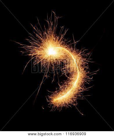 Comma Symbol Drawn With Bengali Sparkles Isolated On Black