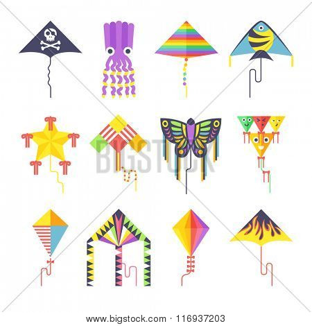 Flying kite vector collection Isolated on a white background. Kids kates flat vector style. Vector kite
