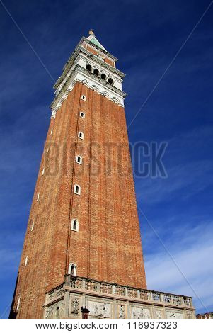 Venice, Italy - September 02, 2012: Campanile Di San Marco (st Mark Bell Tower) Located In Piazza Sa