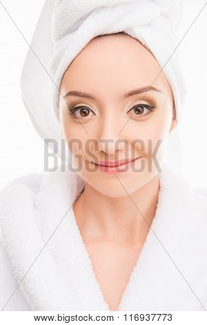 Young Pretty Cute Girl With Towel On Her Head Smiling