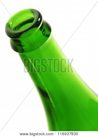 Rim of green empty bottle.