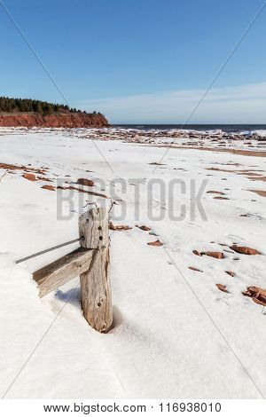 Desolate sand beaches in winter in Prince Edward Island National Park.