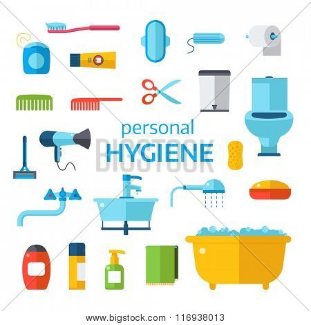 Hygiene icons vector set isolated on white background. Face and skin cleaning, toilet hygiene vector icons illustration. Hygiene toolls sign and symbols