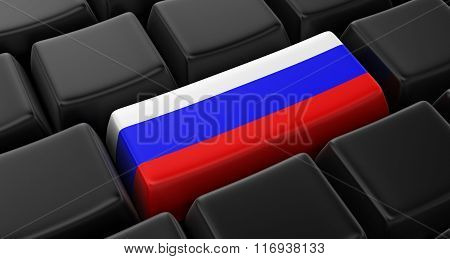 Key with Russian flag