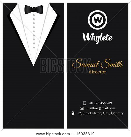 Vector Business Card. Black Tuxado.