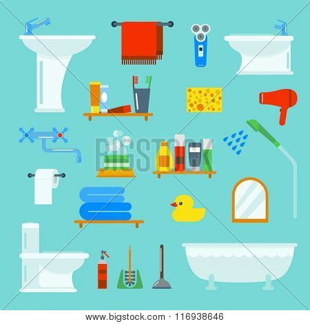 Bathroom and toilet flat style vector icons isolated on background. Bathroom  tools and sign vector illustration. Bathroom icons