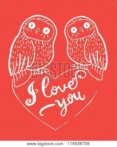 Valentine's Day Greeting Card With Cute Owls And Heart On Red Background.