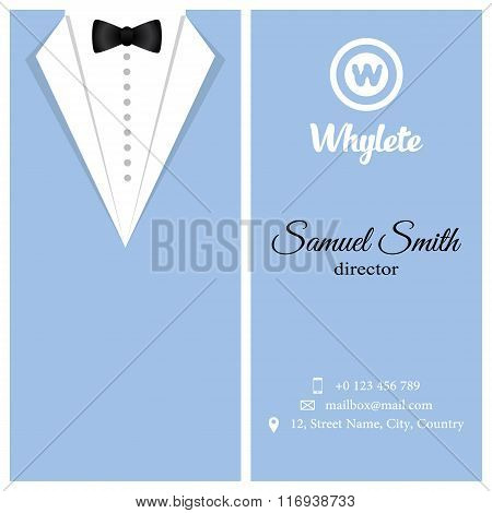 Vector Business Card. Blue Tuxado.