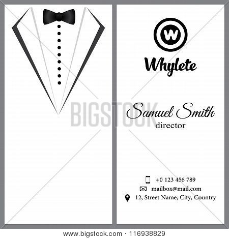 Vector Business Card. White Tuxado.
