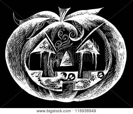Black Halloween scary pumpkin vector