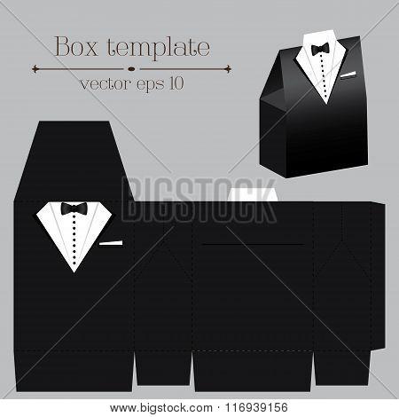 Vector Tuxado Box Template. Black Color