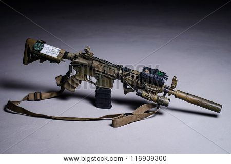 .automatic Rifle With Silencer And Laser Sight