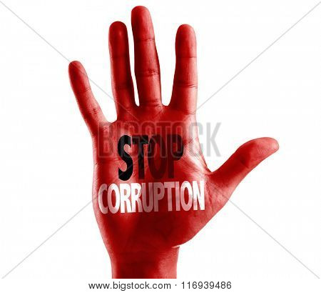 Stop Corruption written on hand isolated on white background