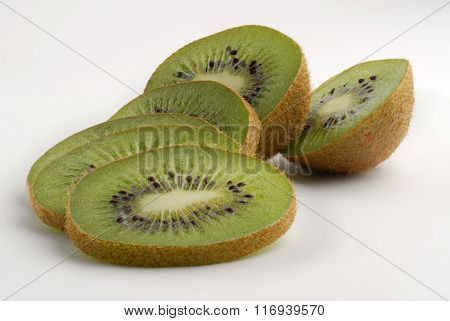 Sliced kiwi studio isolated on white background