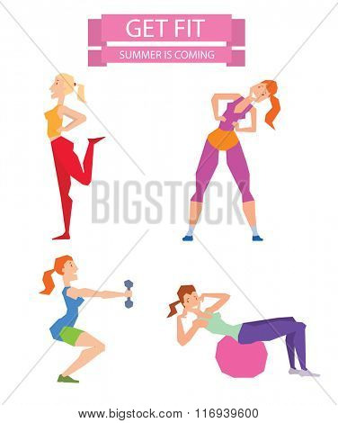 Cartoon sport gym girls group exercise on fitness ball. Sport gym fitness people isolated on white background. Gym people, sport activity