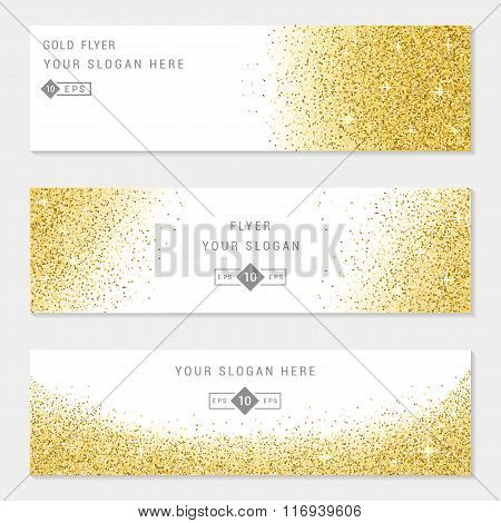 Vector banners and cards gold sparkles on white background. Gold background text. Banners voucher store present shopping sale logo web card vip exclusive certificate gift luxury privilege.