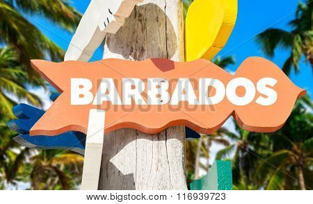 Barbados welcome sign with palm trees