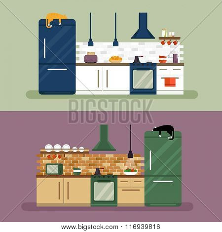 Kitchen and furniture interior flat style vector illustration. Kitchen interior different color design flat vector. Kitchen design