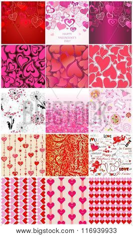 Set of seamless backgrounds for Valentines day