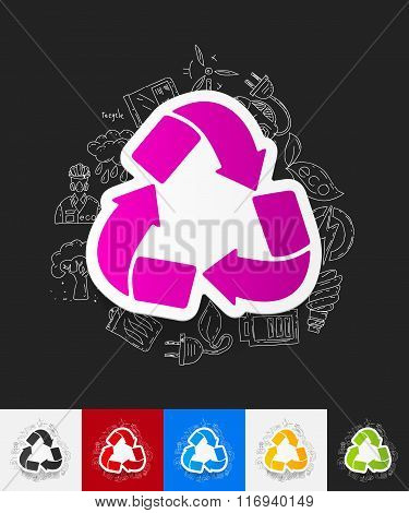 recycle sign paper sticker with hand drawn elements