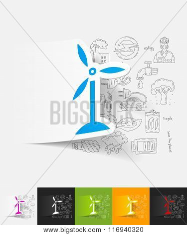 wind turbines paper sticker with hand drawn elements