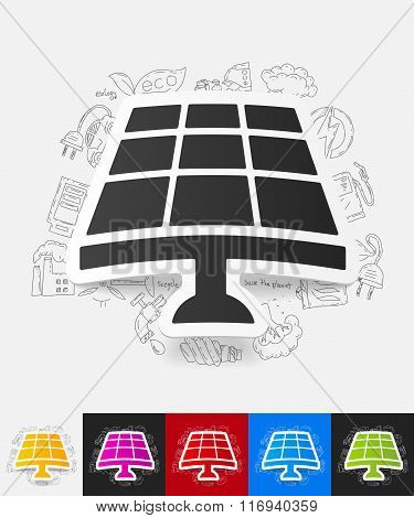 solar battery paper sticker with hand drawn elements